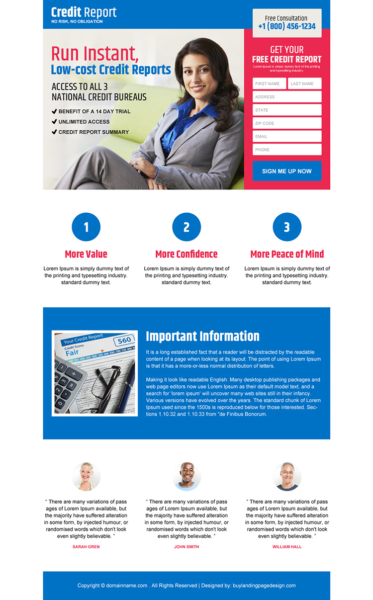 low cost credit report services responsive landing page