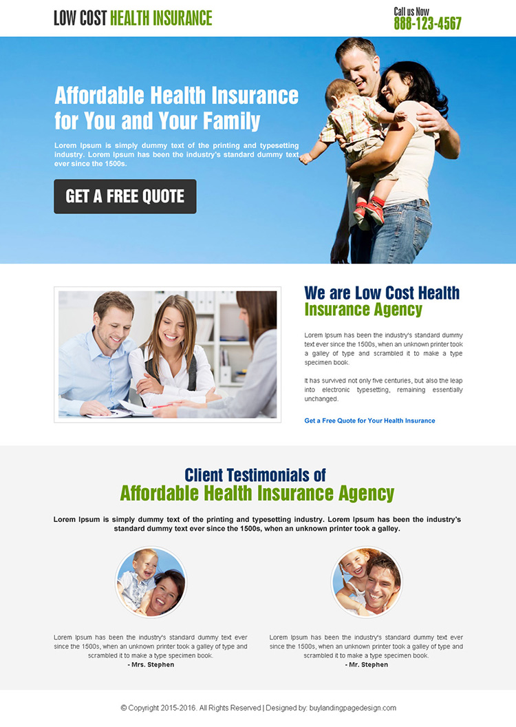 responsive low cost health insurance landing page design