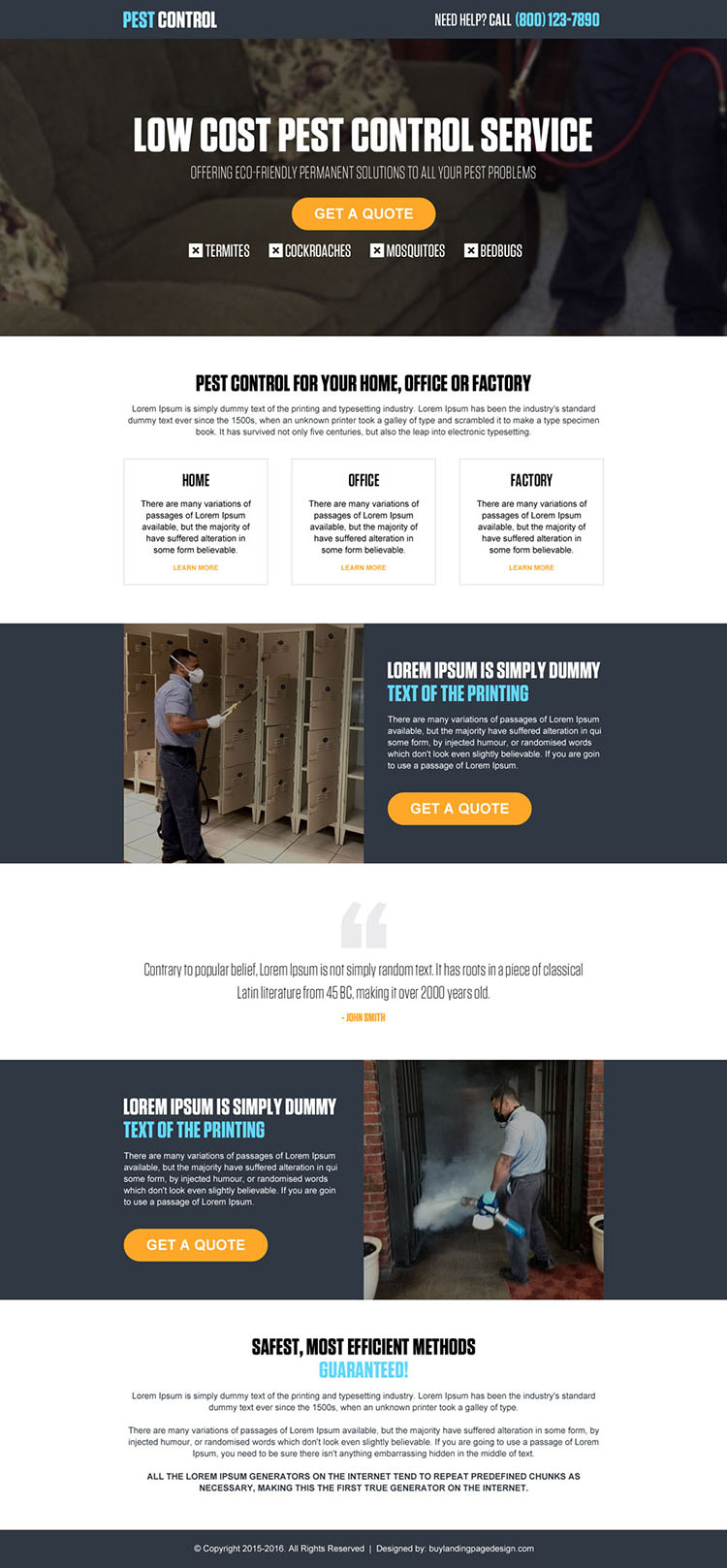low cost pest control service call to action landing page design template