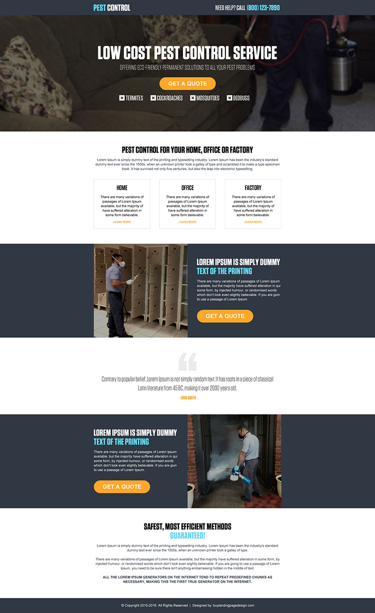 pest control company service responsive landing page