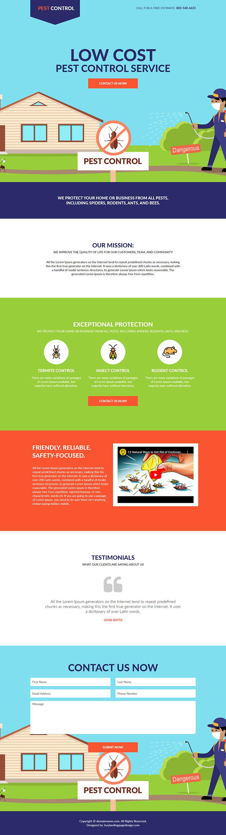 low cost pest control service responsive landing page design