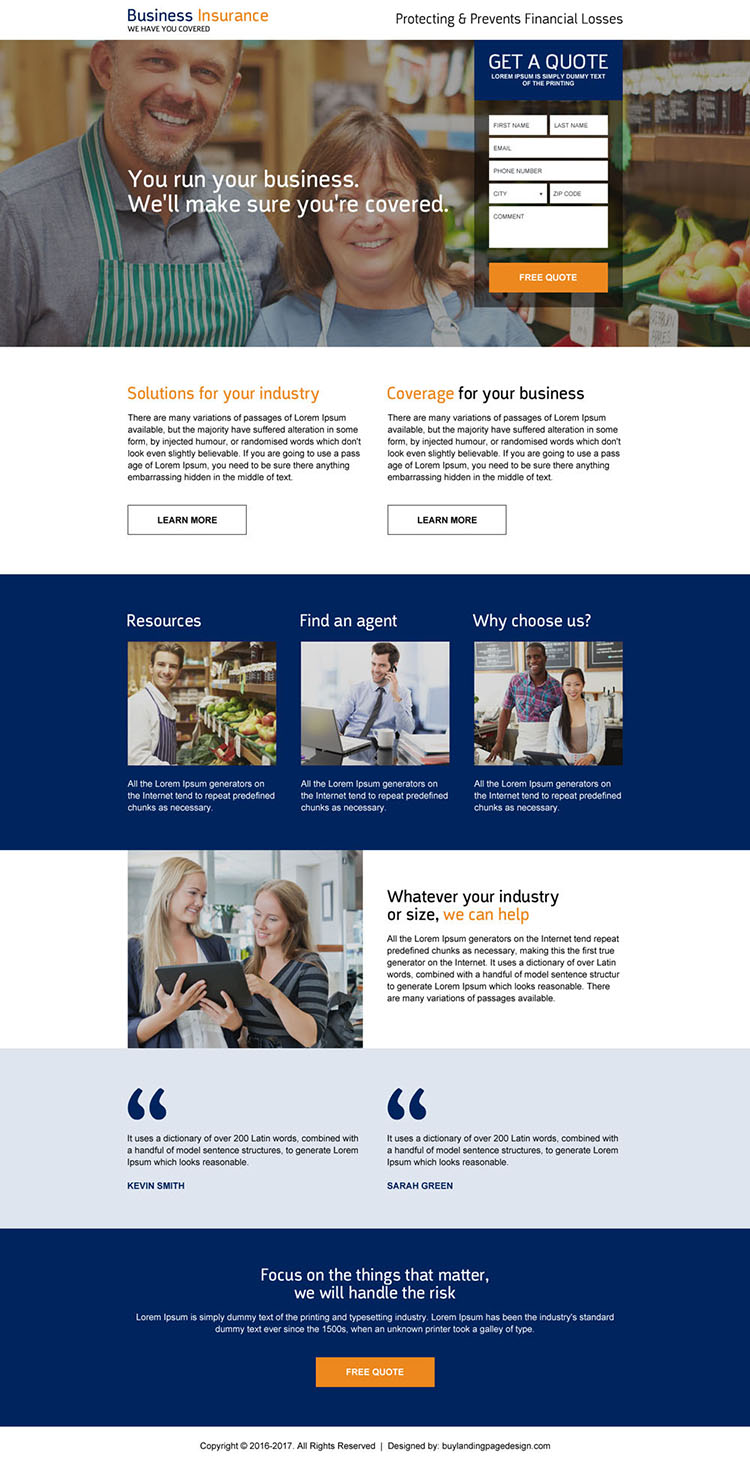 low cost business insurance quote generating landing page