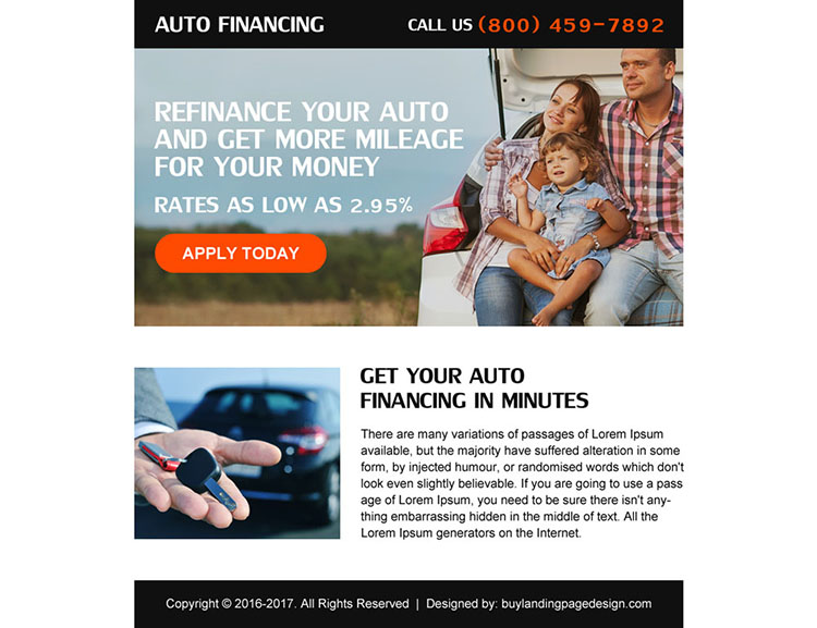 auto refinance online application call to action ppv landing page