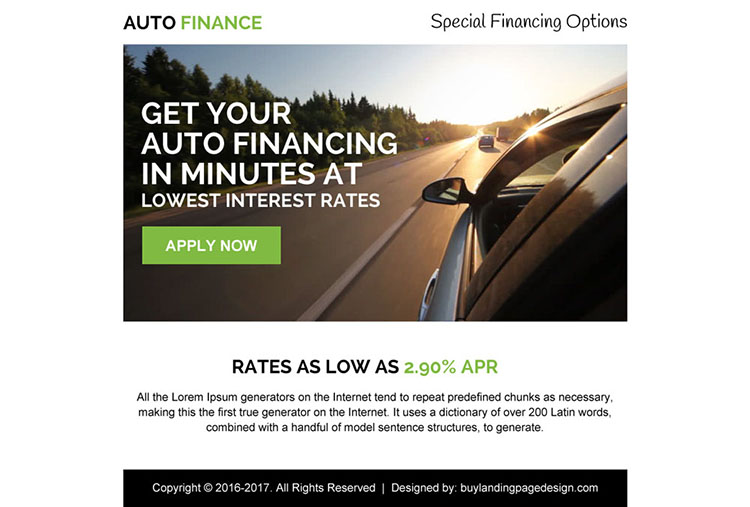 low interest auto finance ppv landing page design