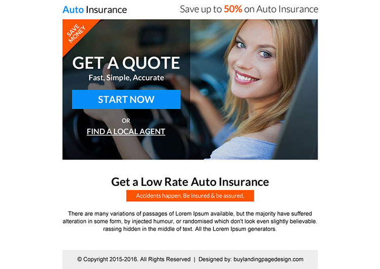 low rate auto insurance free quote call to action PPV landing page design