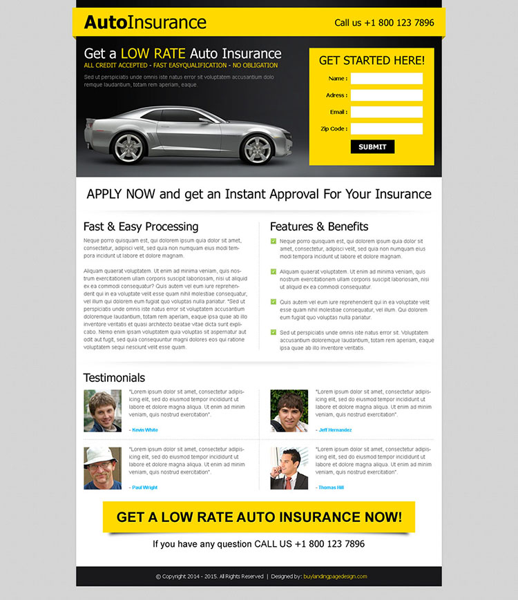 instant approval for your car insurance most converting landing page design template