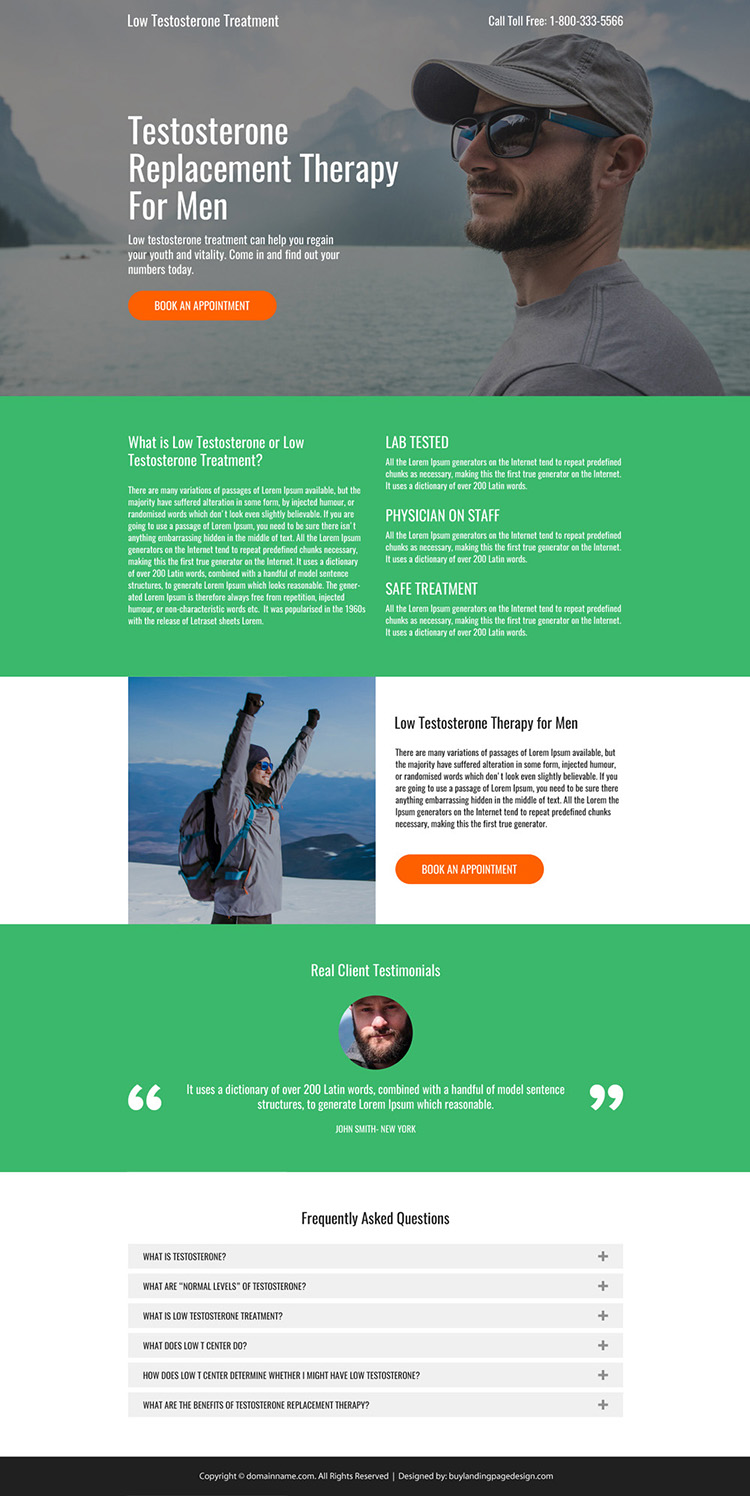 testosterone replacement therapy for men professional landing page design