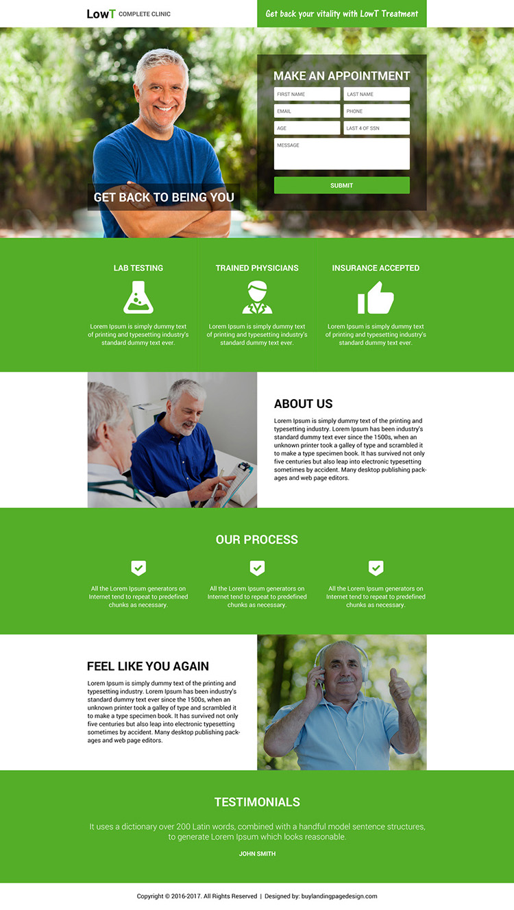 low testosterone treatment online appointment booking landing page