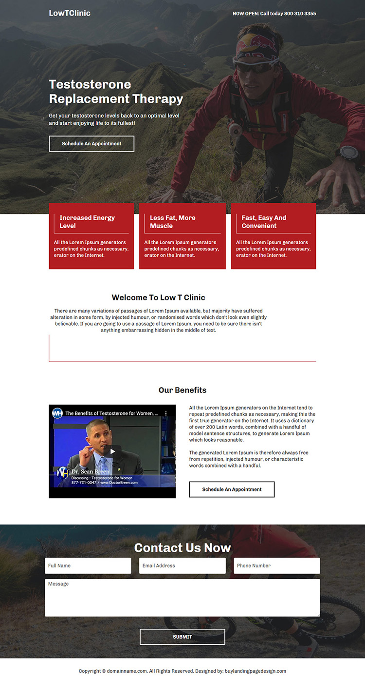 low testosterone replacement therapy responsive landing page