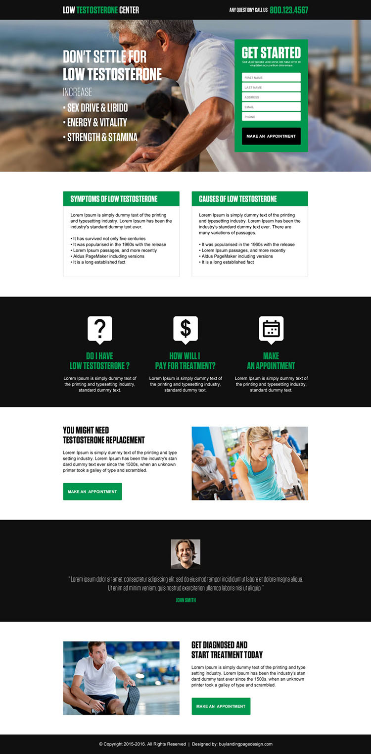 low testosterone treatment leads landing page design template
