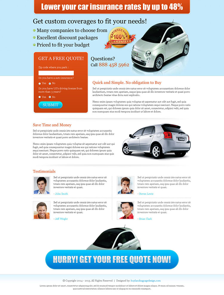 lower your car insurance rates clean and very effective landing page design