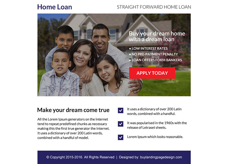 home loan online application ppv landing page design