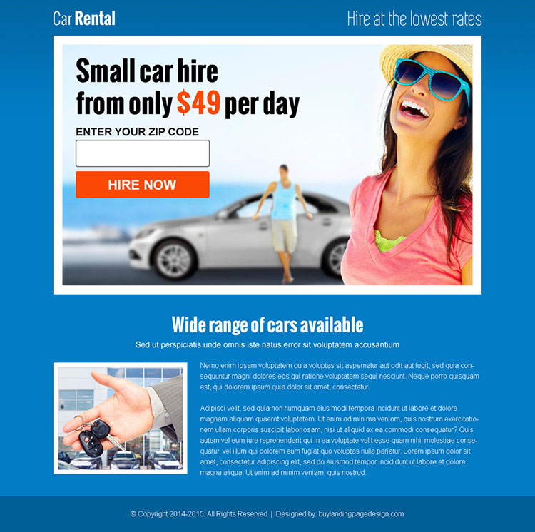 car rental zip capture landing page design