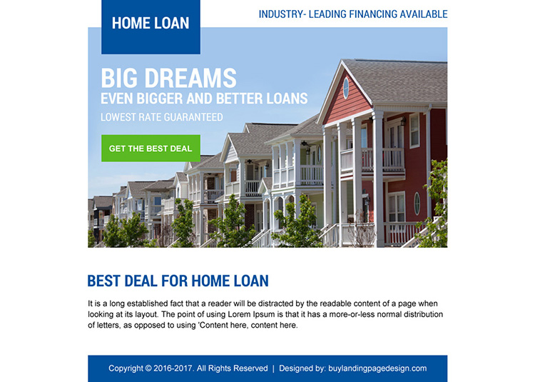 lowest home loan deal ppv landing page design