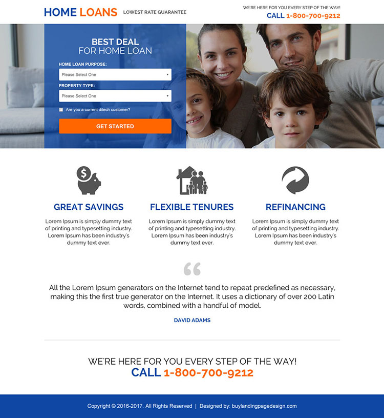 lowest rate home loan guarantee landing page design