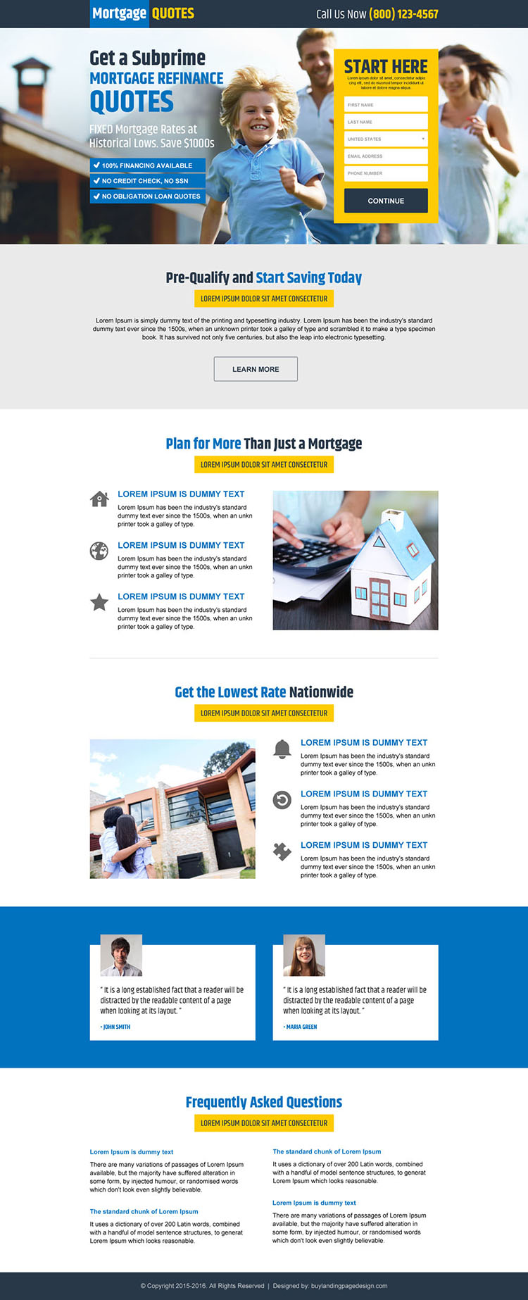 mortgage refinance quote lead capture landing page design