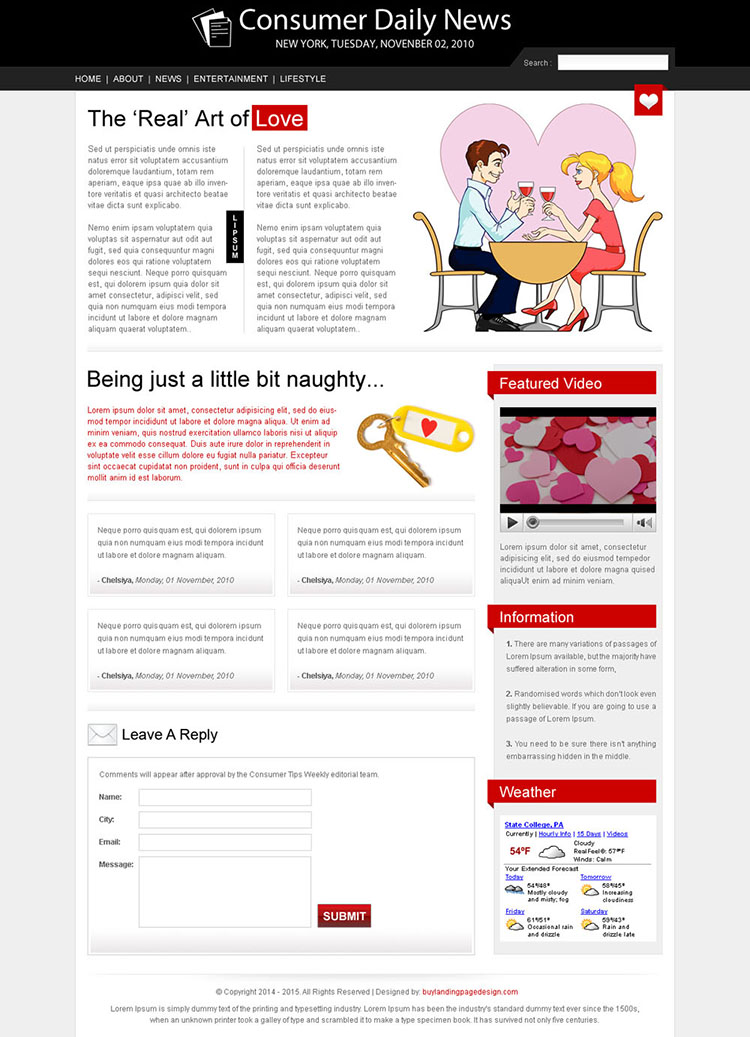 magazine style dating landing page design