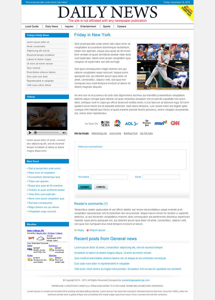 clean and minimal magazine style squeeze page design