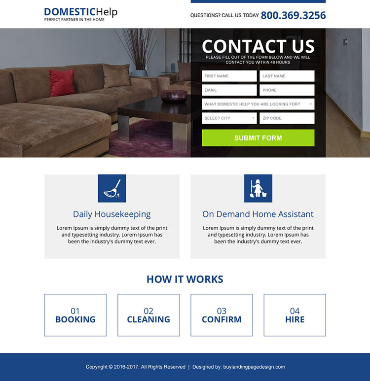 domestic help service mini landing page design