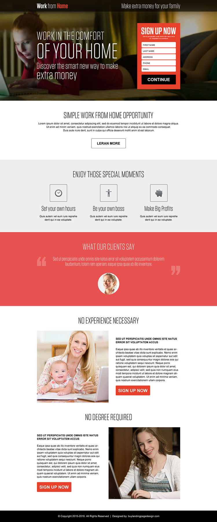 make money from the comfort of your home landing page design