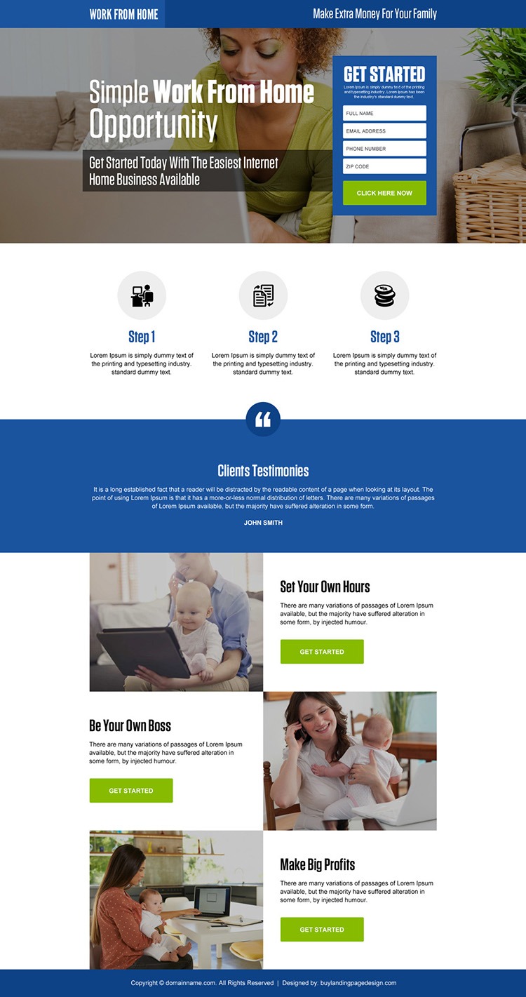 work from home opportunity small lead form responsive landing page design