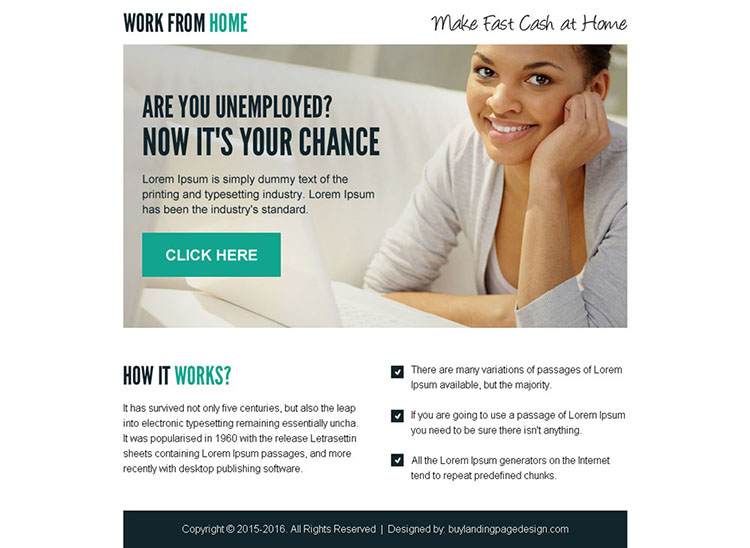 make fast cash at home call to action ppv landing page design