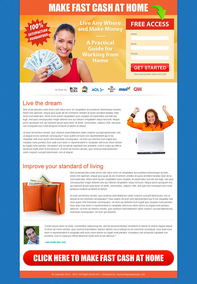 make fast cash at home free access lead capture page design to boost your conversion