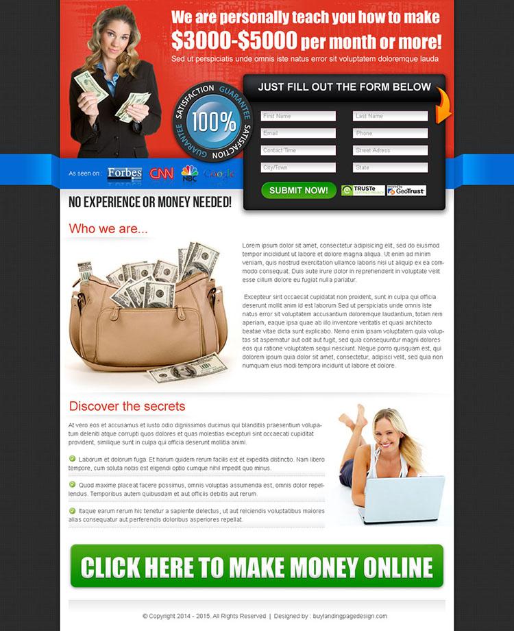 make money online effective lander design