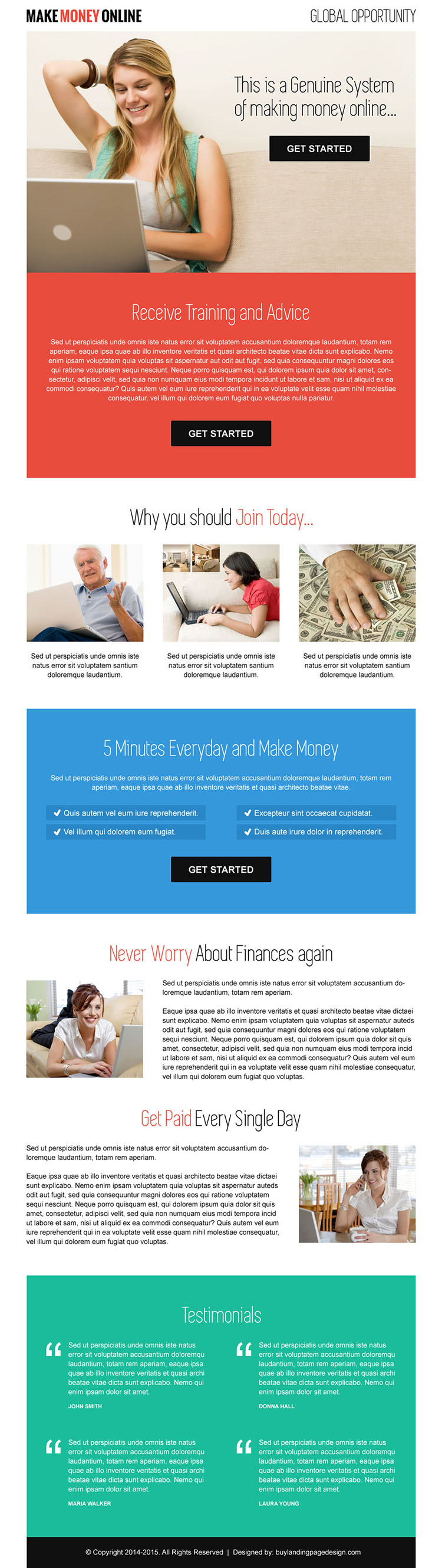 clean and professional call to action make money online landing page design template