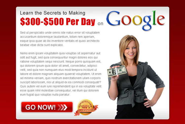 secrets of making money with google appealing ppv landing page design template