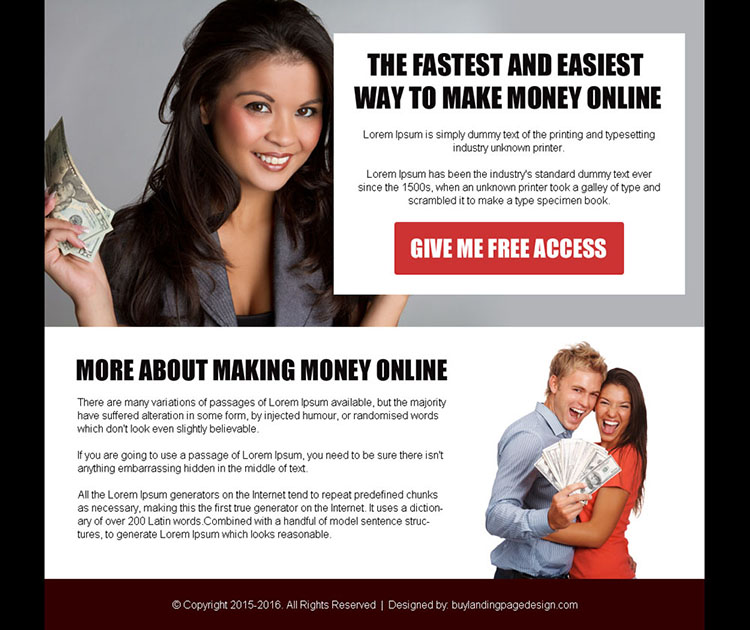 make money online free access ppv landing page design