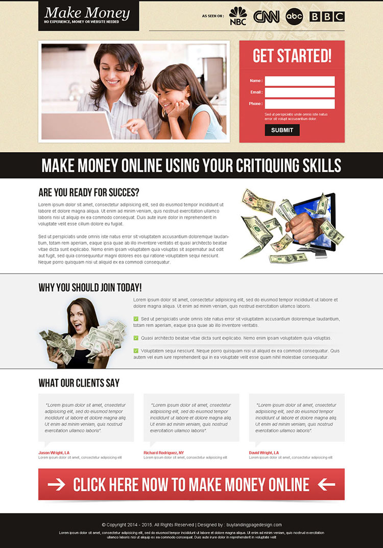 effective and beautiful small lead capture converting landing page design