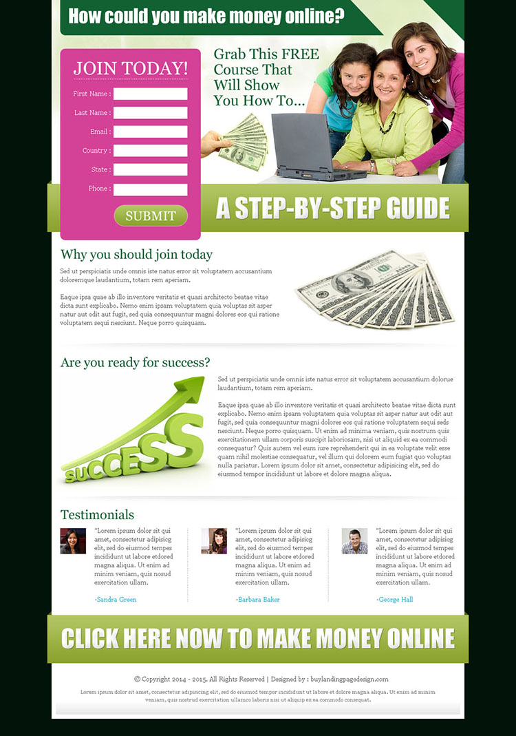 money online landing page design templates to earn money