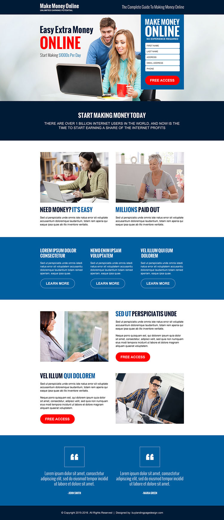 make money online guide lead gen landing page design template