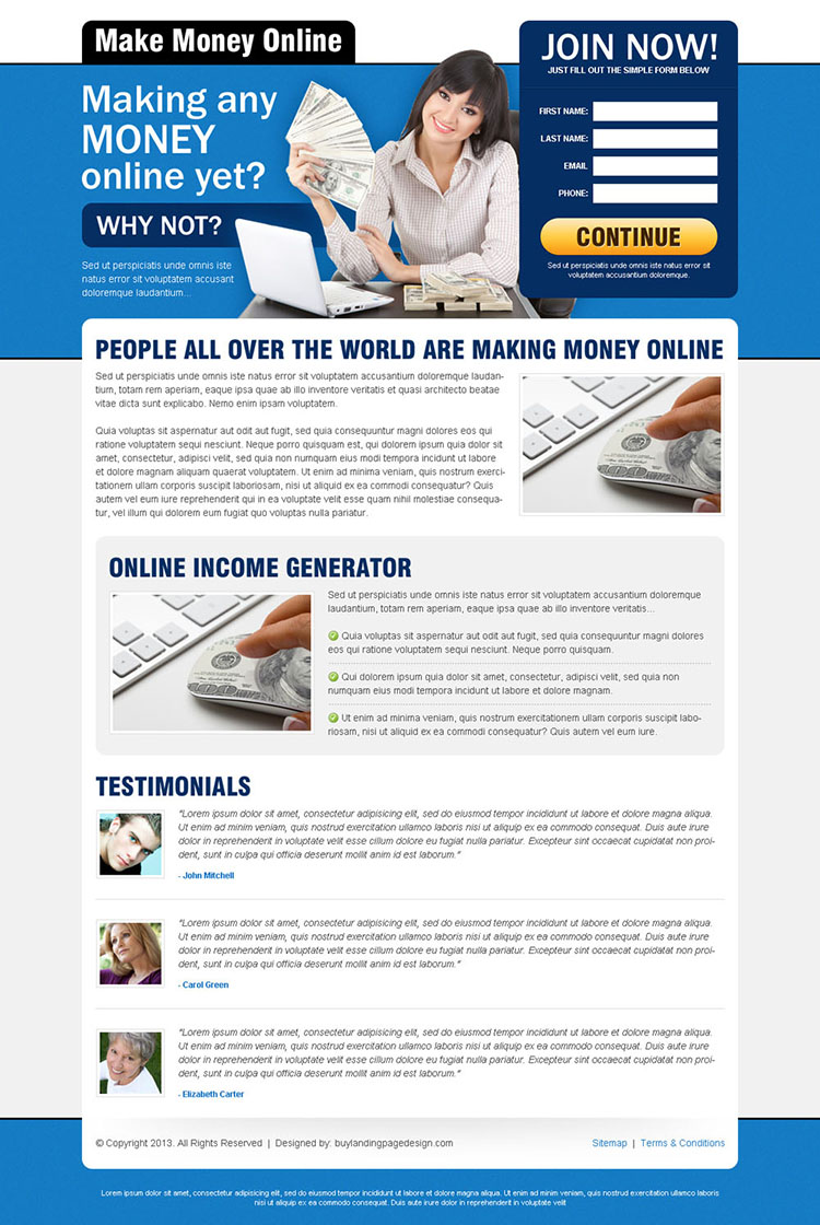 converting landing page design for make money online business conversion
