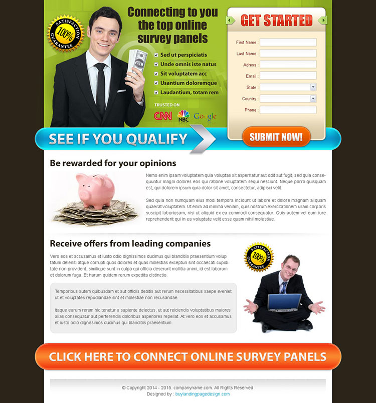 make money online landing page design template