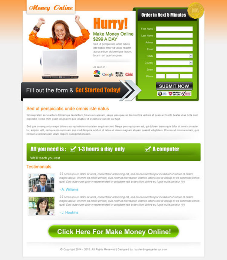 make money online call to action appealing landing page design for sale