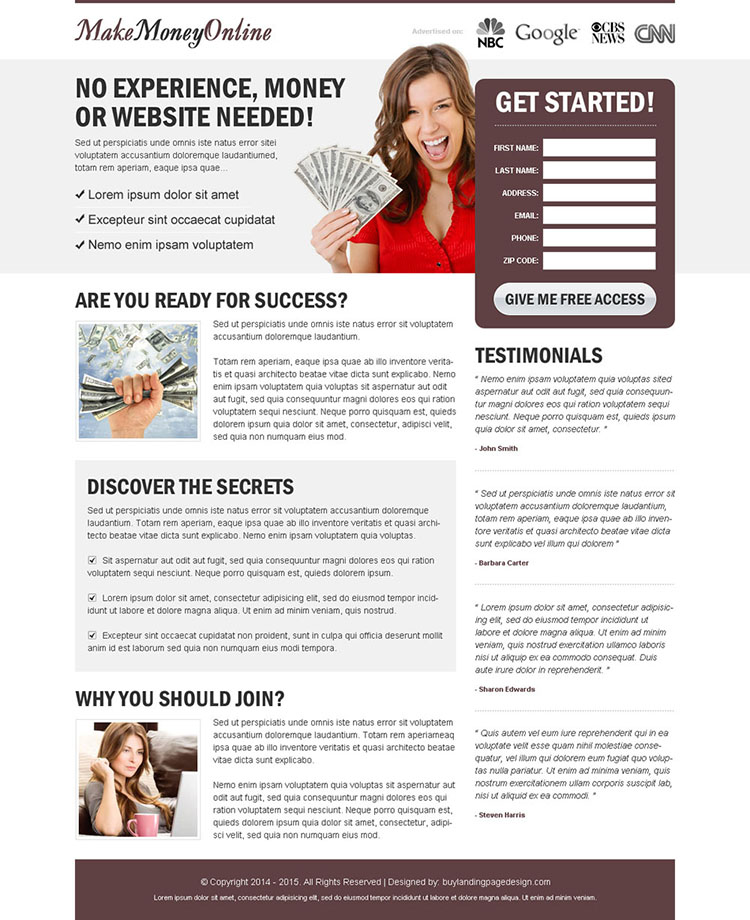 make money online free access lead generating landing page design