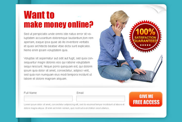 make money online lead capture clean and converting ppv landing page design template