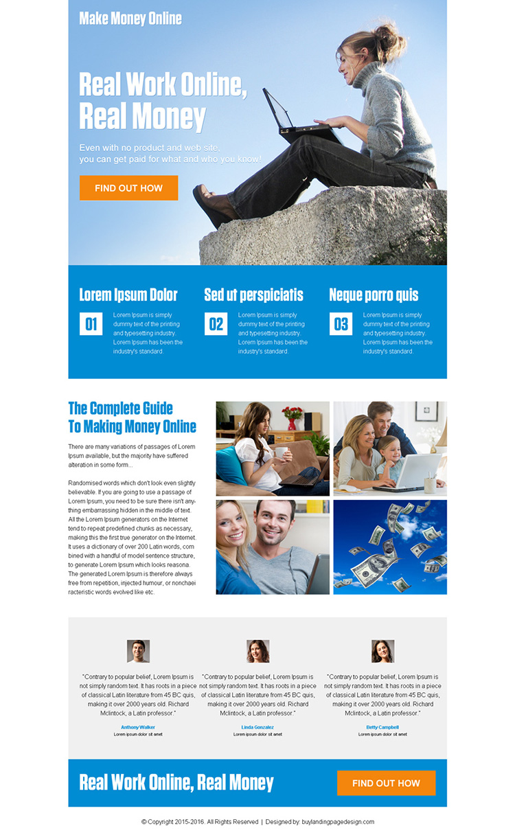 make money online pay per click landing page design template