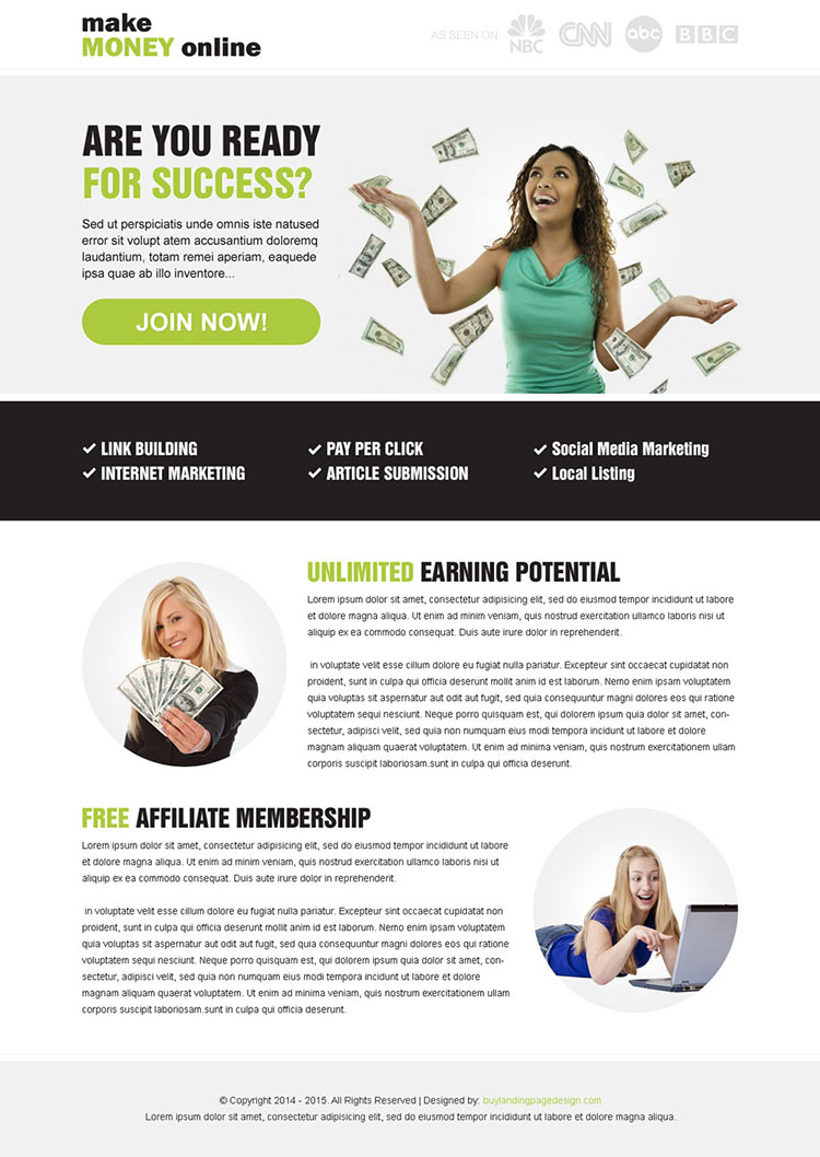 Make money online clean responsive landing page design