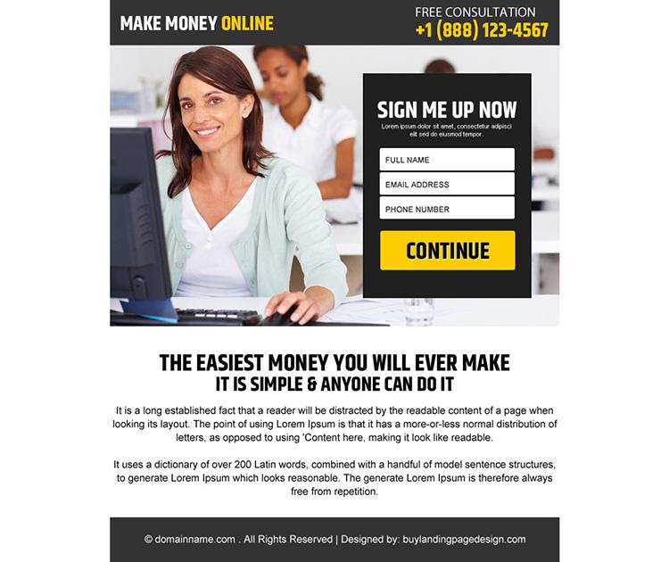 make money online sign up capturing ppv landing page