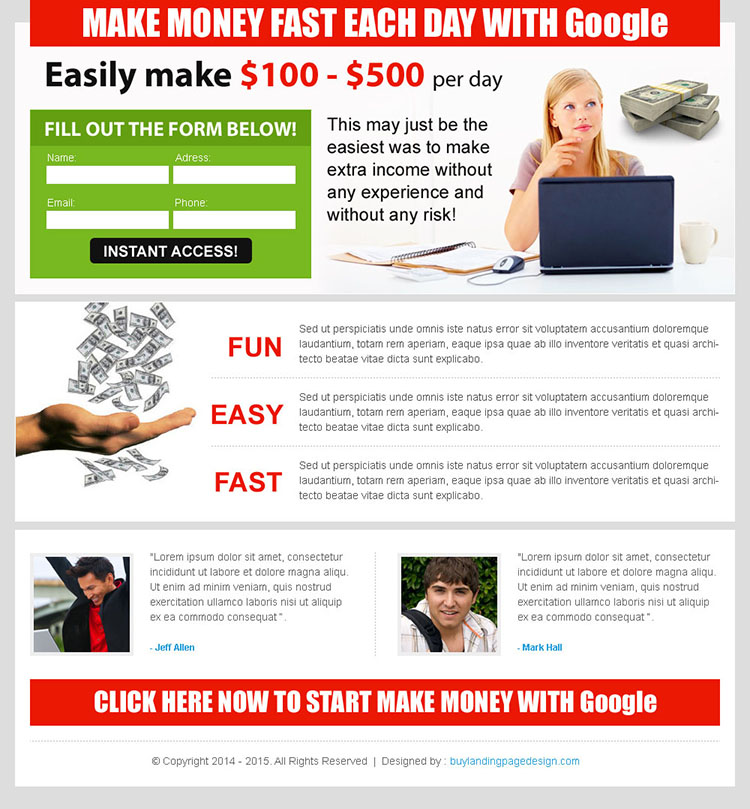make money fast everyday with google lander design