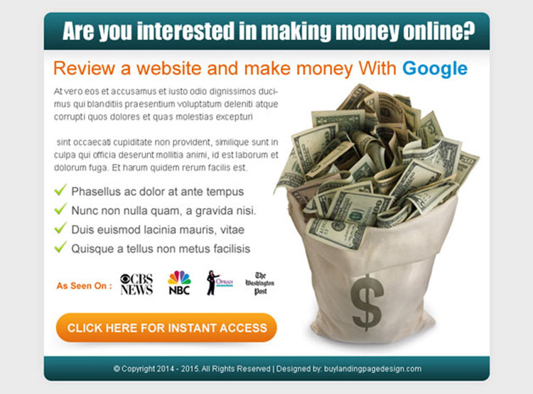 review a website and make money with google call to action ppv landing page design