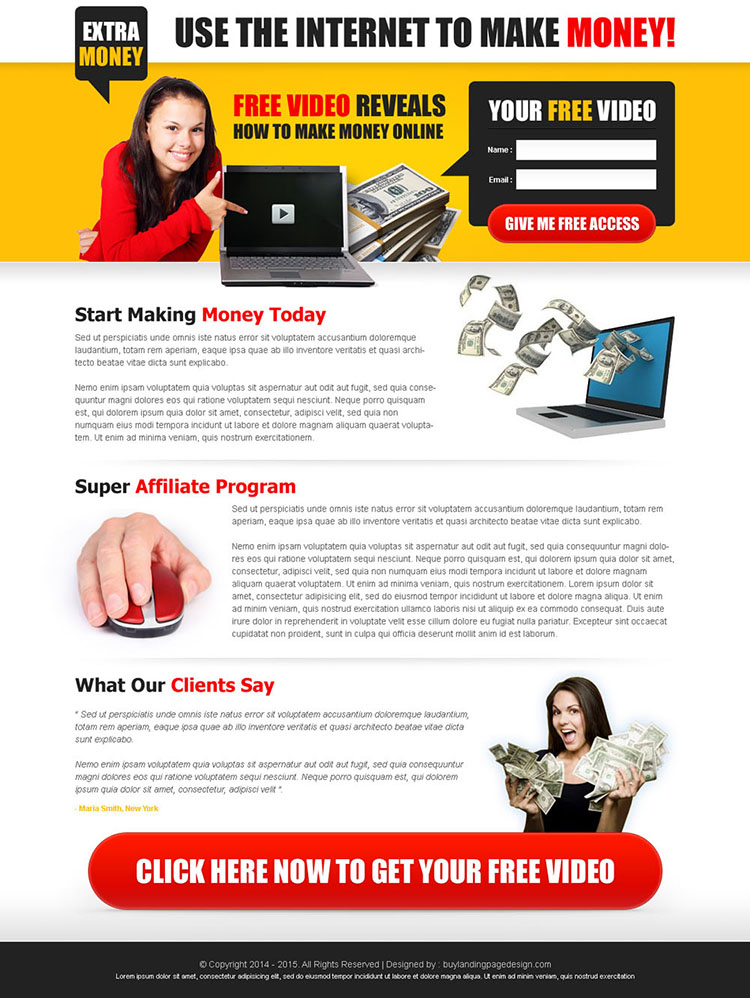 make money online with internet creative and converting lead capture landing page design