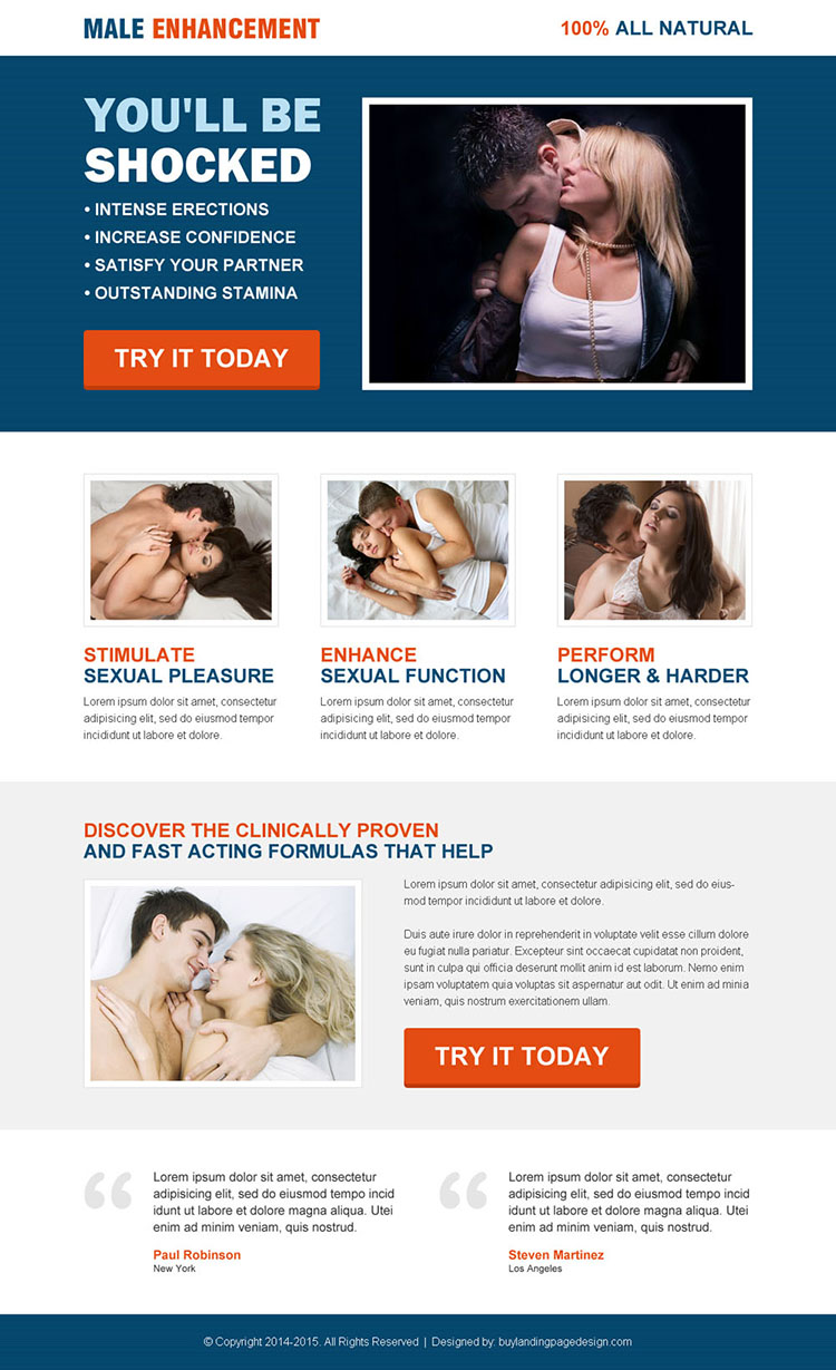 clinically proven and fast acting male enhancement product landing page design