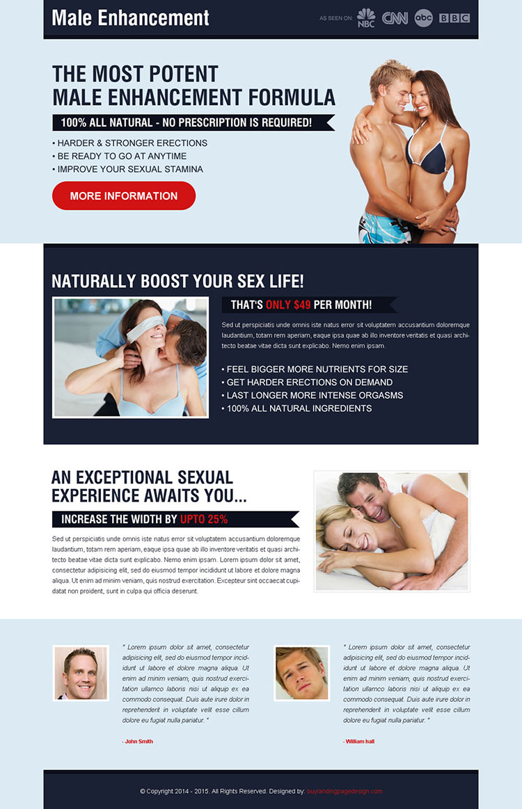 most potent male enhancement formula creative call to action landing page