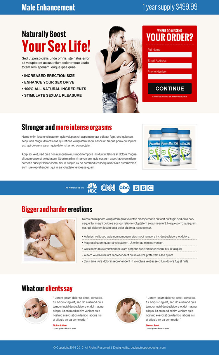 male enhancement product selling lead capture landing page design templates to boost your sex life naturally