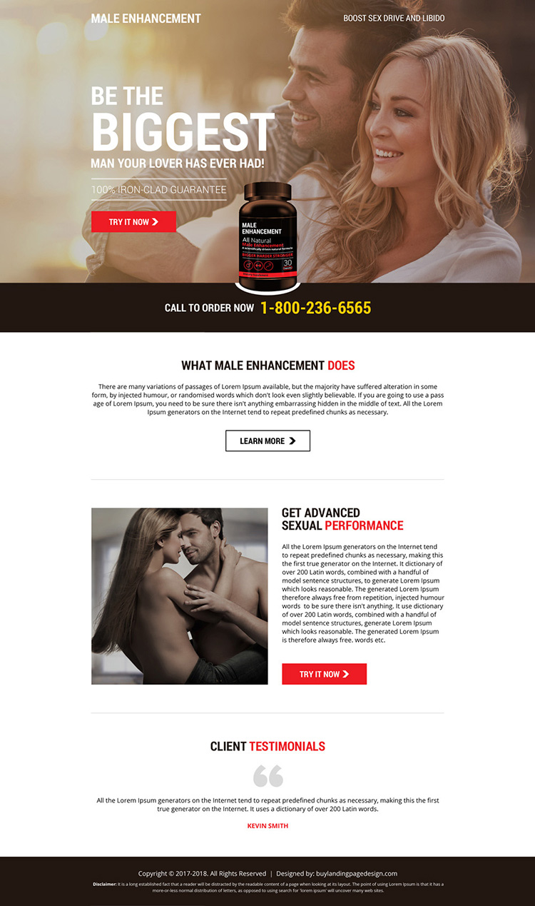 eye catching male enhancement product selling landing page