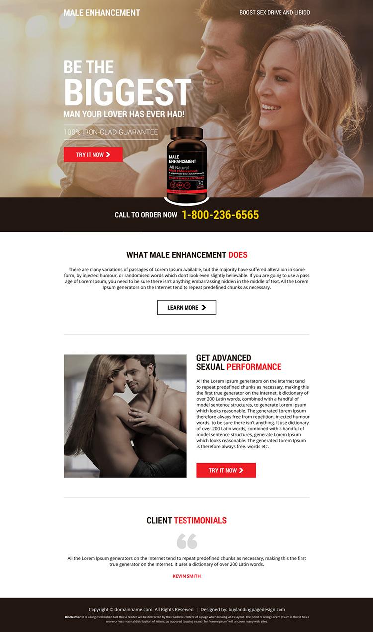 male enhancement responsive landing page design